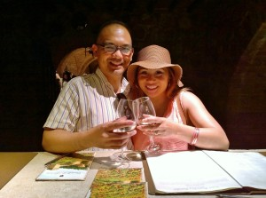 John Gamboa and his wife enjoying the wine at Castillo de Amorosa