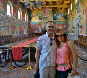 Shot of John Gamboa and his wife in the Castillo de Amorosa Dining Hall