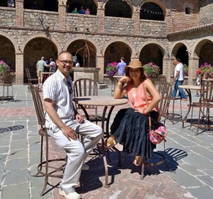 Castillo de Amorosa - John Gamboa enjoying the sun in the courtyard