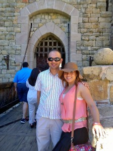 John Gamboa and his wife at the entrance of Castillo de Amorosa