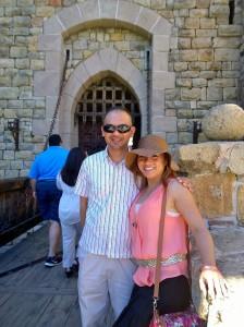 John Gamboa and his wife at the entrance of Castillo de Amorosa