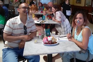 John Gamboa and his wife enjoying a banana split at Fenton's in Vacaville